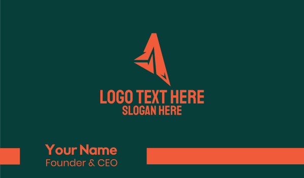 creative agency - Abstract Orange Letter A Business card horizontal design