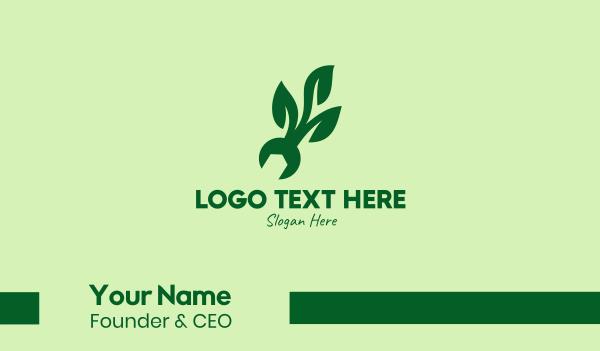 repairman - Natural Mechanical Leaf Business card horizontal design