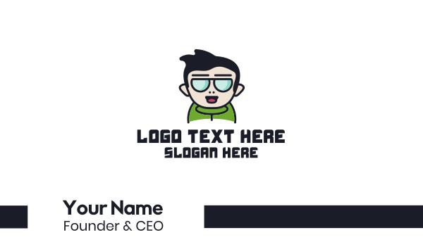 shades - Boy Character Mascot Business card horizontal design