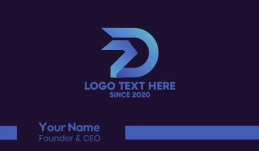 Blue Tech Letter D Business Card