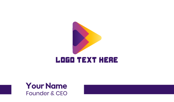 app icon - Colorful Media Player Business card horizontal design
