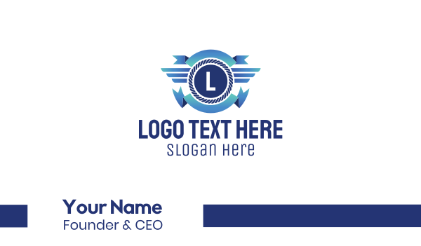 badge - Blue Captain Lettermark Emblem Business card horizontal design