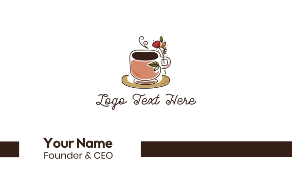 cup - Herbal Coffee Cafe Business card horizontal design