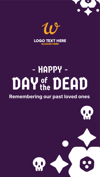 Day of the Dead Floral and Skull Pattern Facebook story