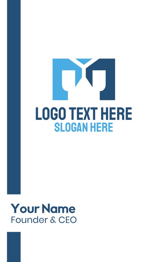 Blue Letter M Business Card