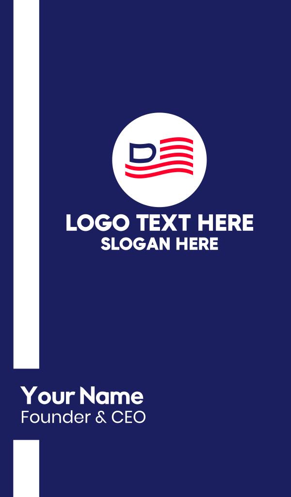 America Letter D Flag Business Card