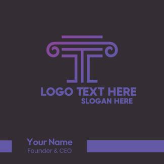 Letter T Pillar Business Card