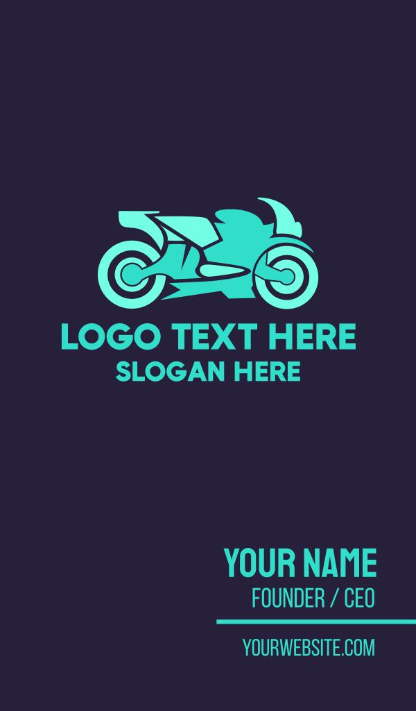 Neon Motorbike Business Card