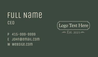 Traditional Earthy Wordmark Business Card