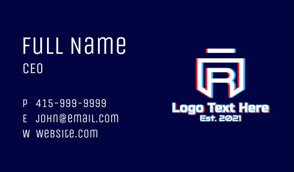 it expert - Static Motion Letter R Shield Business card horizontal design