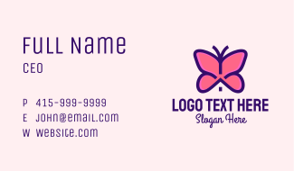 Pink Butterfly House Business Card