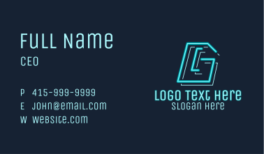 Neon Retro Gaming Number 6 Business Card