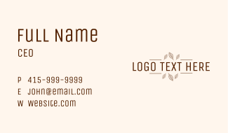 Minimalist Autumn Wordmark Business Card