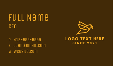 Golden Canary Outline Business Card