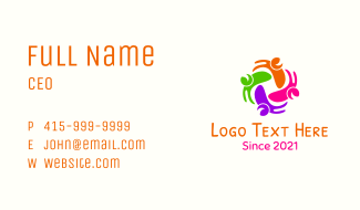 Multicolor Happy People Business Card
