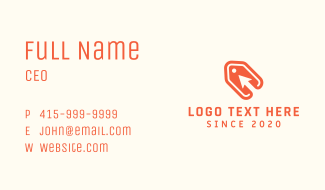 Orange Arrow Price Tag Business Card