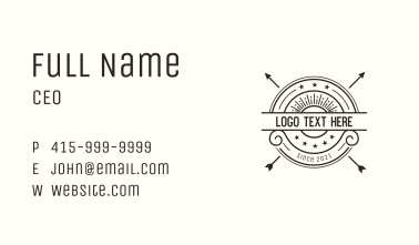 Arrow Sun Hipster Badge Business Card