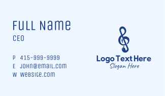 G Clef Snake Business Card