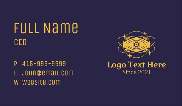 astrology - Mystical Eye Planet Business card horizontal design