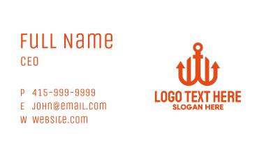 Orange Anchor Letter W Business Card