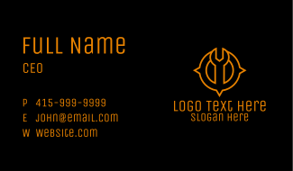 Wrench Location Compass Business Card