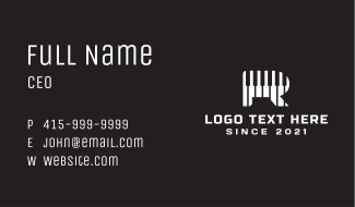 Piano Instrument Letter R  Business Card