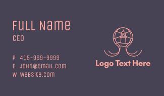 Pink Octopus Lighthouse Business Card