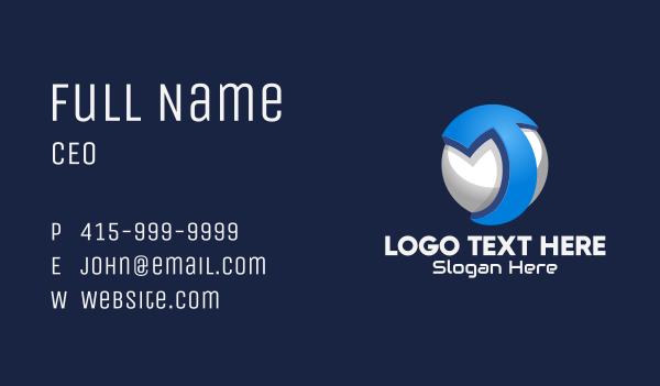 global business - 3D Tech Sphere Letter T Business card horizontal design