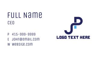 Blue PJ Monogram Business Card