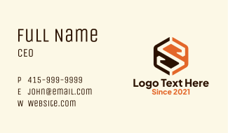 Letter S Hexagon Company Business Card