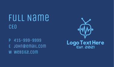Blue Medical Pulse Chat  Business Card