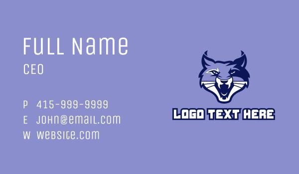 animal mascot - Wild Cat Mascot  Business card horizontal design