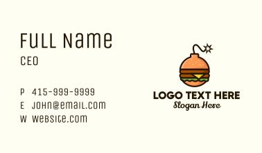 Explosive Burger Sandwich Business Card