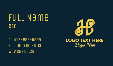 Yellow Shadow Letter H Business Card