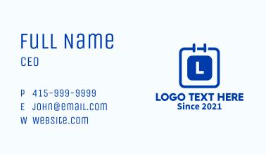 Minimalist Calendar Lettermark Business Card