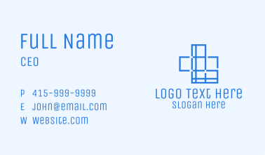 Blue Cross Outline Business Card