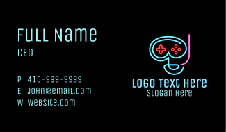 Neon Goggle Diver Game Controller Business Card