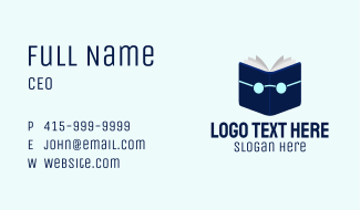 Blue Book Eye Glasses Business Card