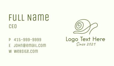 Minimalist Green Snail Business Card