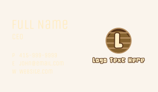 Wooden Text Letter Business Card