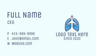 Blue Airplane Flight Lungs Business Card