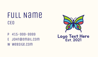 Multicolor Natural Butterfly Business Card