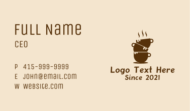 Hot Coffee Cup Tower  Business Card