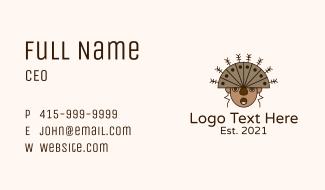 Ethnic Headdress Warrior Business Card