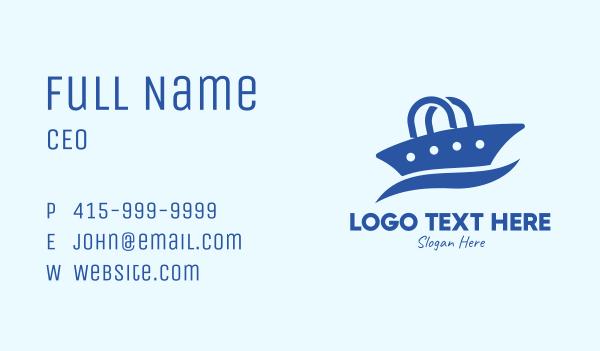 cruise ship - Blue Ship Bag Business card horizontal design