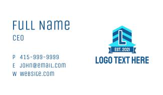 Blue Building Letter Business Card