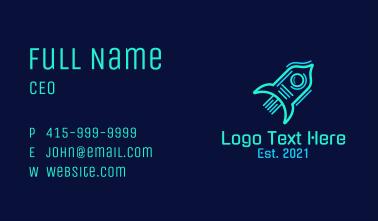 Neon Rocket Ship Business Card