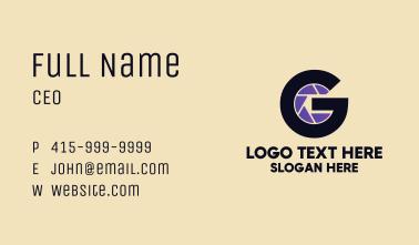 Letter G Camera Shutter  Business Card