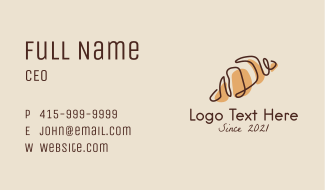 French Croissant Bread Business Card