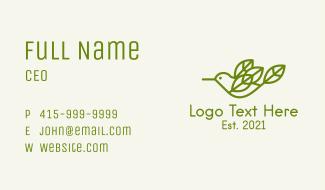 Green Bird Leaves Business Card